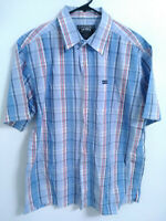 Avirex Mens Size Large Blue Plaid Short Sleeve Cotton Pocket Button Up Shirt