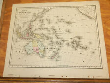 1876 Mitchell Antique COLOR Map/// OCEANICA  // Oceania