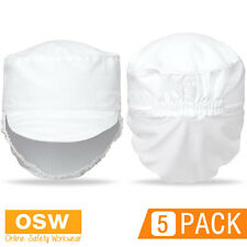 5 X White Chef Restaurant Food Prep Preparation Hat With Fitted Hair Mesh Net