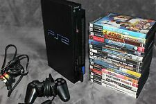 SONY PS2 Fat Black SCPH-50001N Console Complete Bundle 16 Games Blue Controller