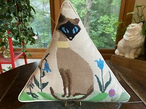 Vintage Needlepoint Siamese Cat Pillow Completed Triangle Shaped Cat Pillow