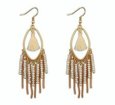 White Fabric Tassel Gold Chain Beaded Pearl Tassel Hook Gold Tone Earrings UK