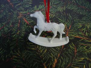 White Porcelain Rocking Horse Ornament - Biscuit Porcelain - Hutschenreuther