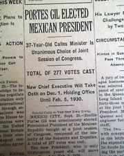 EMILIO PORTES GIL President of Mexico Election WIN Mexican 1928 Old Newspaper