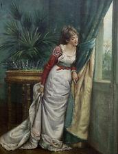 JULES CELLIER 1826-1890..CHARMANTE TOILE..JEUNE FEMME REGARDANT A SA FENÊTRE