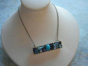 Sterling Silver 925 Amethyst Turquoise Aquamarine Jeweled Necklace  25274K