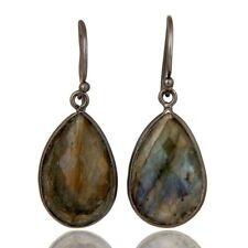 Natural Labradorite 925 Sterling Silver Bezel Set Dangle Earrings, Gift Jewelry