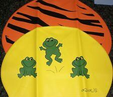 2 AQUALIS Kids Print Swim Caps Yellow with Frogs & Orange Tiger Stripe Swimming
