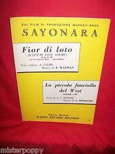 WAXMAN dal Film Sayonara + BONESCHI La fanciulla del West OST Spartito 1958
