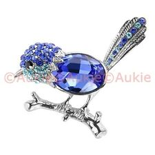 ONE Blue Wren Brooch with Topaz & Crystals <FJ>