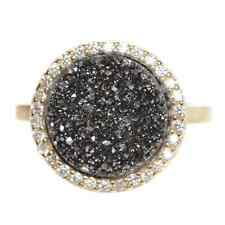Gold Finish Sterling Silver Grey Druzy Quartz Womens Statement Ring (5)
