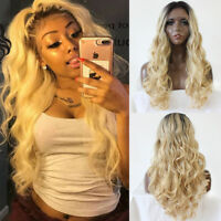 Women's Full Wigs Blonde Long Wavy Synthetic Lace Front Wig Hair Heat Resistant
