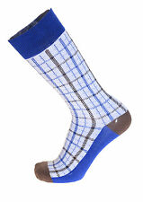 Mens Steven Land White With Blue & Brown Check Cotton Dress Socks
