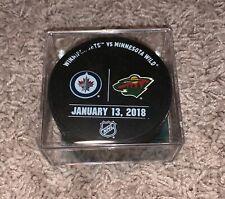 Minnesota WILD vs Winnipeg JETS Warmup Used Puck 1/13/18 Xcel COA