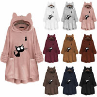 Women Fleece Hooded Long Sweater Pullover Hoodie Jumper Outwear Cat Fish Floral