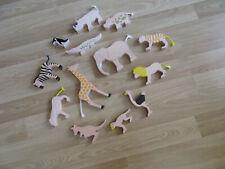Zoo Tiere aus Holz - Elefant,Giraffe,Zebra,... 12 Stück