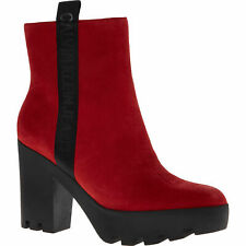 CALVIN KLEIN JEANS Red Suede Leather Ankle Boots Sz:uk6/eu39, rrp: £125