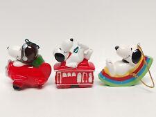 Lot of 3 Peanuts Snoopy Ceramic Ornaments