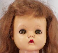 Vintage Vinyl Doll Rooted Brown Saran Hair To Restore Cute MAKER HELP