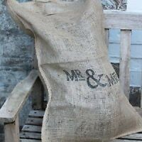 East of India Large Shabby Vintage Brown Mr & Mrs Hessian Wedding Sack Chic Bags
