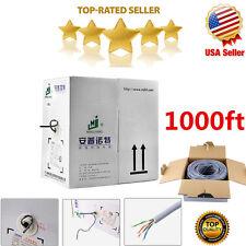 Grey CAT5E 1000FT CAT5 CABLE UTP WIRE SOLID ETHERNET NETWORK BULK RJ45 LAN BOX