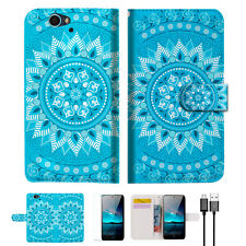 Blue Aztec Tribal Wallet Case Cover for Telstra 4gx HD A001