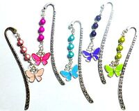Hand Beaded Colourful Butterfly Enamel Charm Pendant on Silver tone Bookmark
