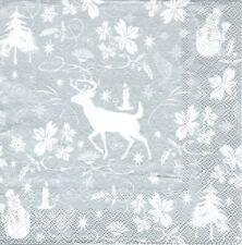 2 Serviettes en papier Décor Noël Cerf Decoupage Paper Napkins Christmas