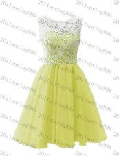New Short Lace Bridesmaid Formal Gown Ball Party Evening Prom Dress Size:6-22