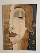 GUSTAV KLIMT HANDMADE OIL PAINTING ON CANVAS,SIGNED,W/GALLERY STAMPS