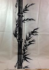 Vintage Alfred Shaheen Bamboo Fabric Black White 2 Panel Hawaii 45 X 53 Linen?