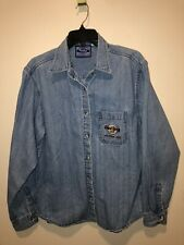 Vintage 90's Hard Rock Cafe Size L Blue Jean Jacket Atlantic City