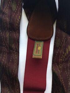 2 PAIR Trafalgar Suspenders Green & Black, Burgundy Floral,  Leather Tabs