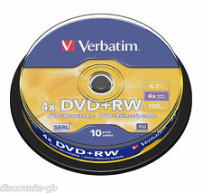 Verbatim 43488 DVD+RW - ReWriteable Re-Recordable - Spindle 10 Pack