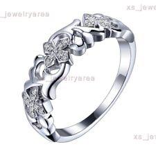 10K White Gold Wedding Propose Birthday Natural Diamond Inlay Engagement Ring