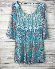 As U Wish Women's Floral Teal Scoop Neck Lined 3/4 Bell Sleeve Dress Size XS