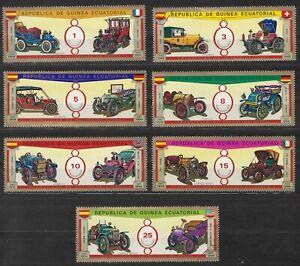 Äquatorialguinea, Historische Autos, 1976, postfr.,  MiNr. 877-883 Satz