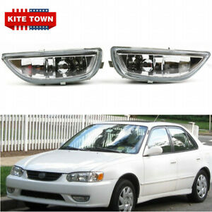 Pair of Fog Lights Clear Lens Front Driving Lamps for Toyota Corolla 2001 2002