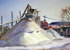 Vintage Watercolor Painting Landscape LUMBER MILL MAINE E. Tomasiewicz Unframed
