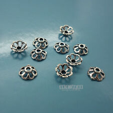 10PC Solid Sterling Silver 6.8mm Hollow Flower Floral Bead Cap Spacer #33801