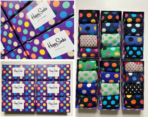 Men's Spotty Cotton Mix Happy Socks 4 Pack With Box Size 7.5/11.5 (EUR 41-46)