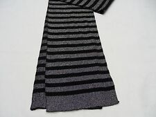 BLACK & SLIVER STRIPED - LARGE (12/14) SIZE SCARF!