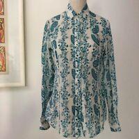 Massimo Dutti Bluse Knöpfen / Hemd Print Weiß Blau Baumwolle Seide Mix Gr. 36/S