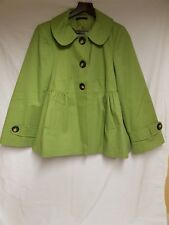Evans Womans Green Wool Blend A Line Winter Coat Jacket UK Size 16