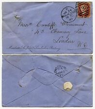 GB RAILWAY 1872 PENNY RED on MANCHESTER SHEFFIELD + LINCS ENVELOPE