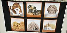 "1 Sweet ""Puppy Love"" Cotton Fabric Quilting Home Decor Sewing Panel"