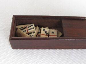 Antique Miniature Dominoes in Wood Slide Lid Box