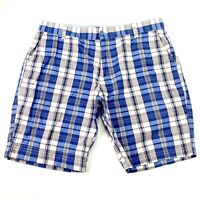 Canterbury Men's Size 38 Blue White Check Plaid Zip Casual Dress Chino Shorts