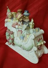 Porcelain Bisque Christmas Family Caroling Musical Sleigh Music Box
