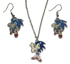 Nintendo Sonic The Hedgehog Pendant Necklace and French Wire Earrings Set